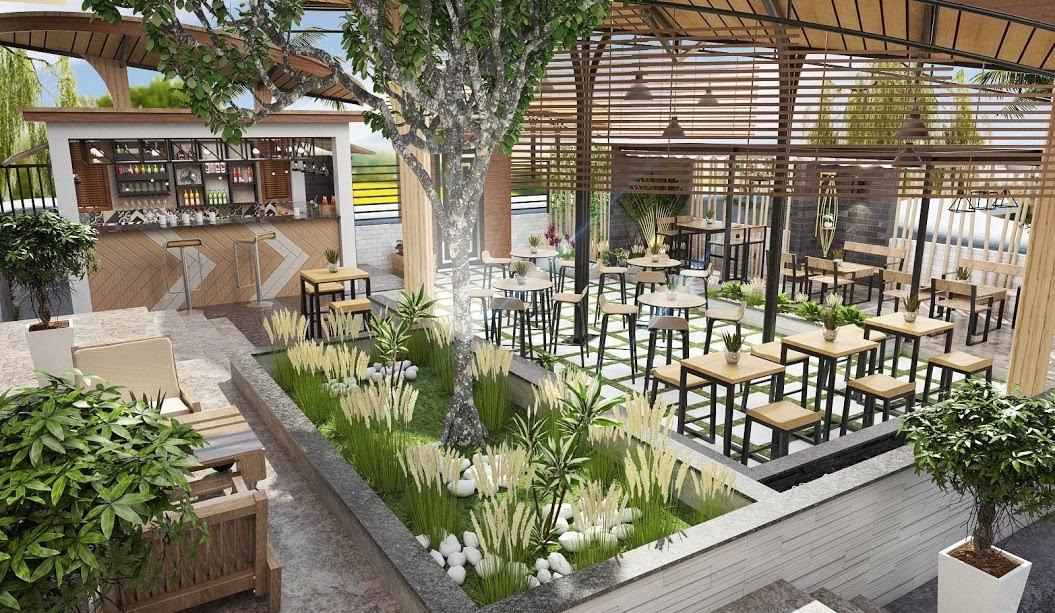 thiết kế quán cafe sân vườn tại Nghệ An Hà Tĩnh